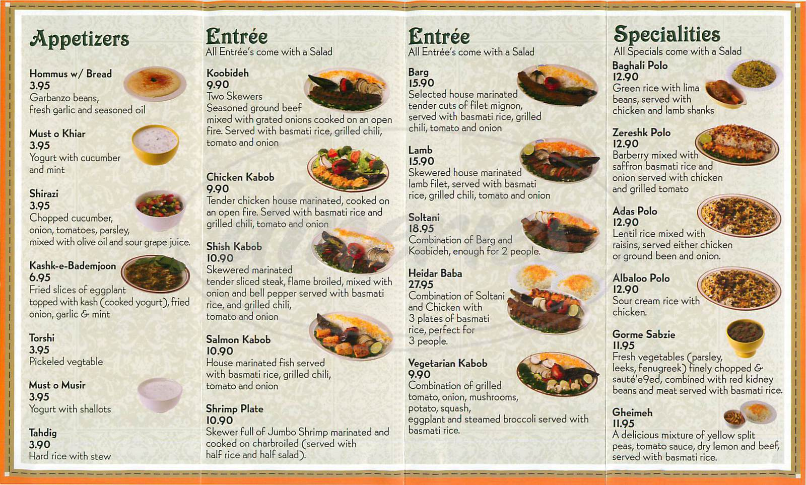 menu for Heidar Baba