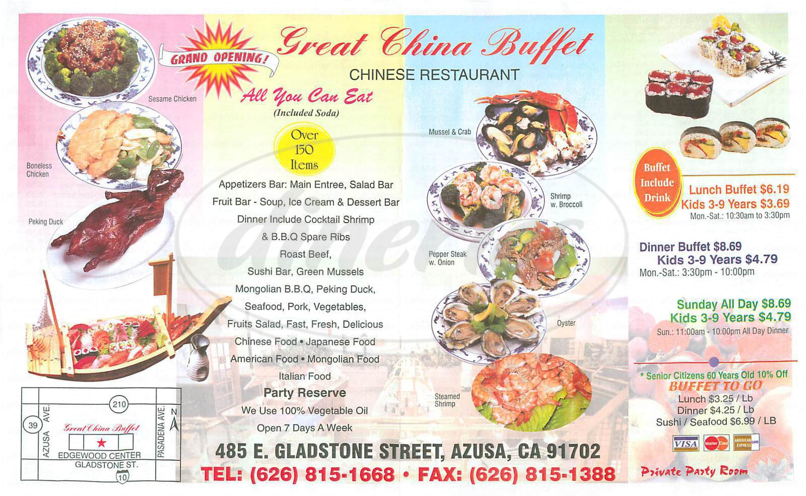 menu for Great China Buffet