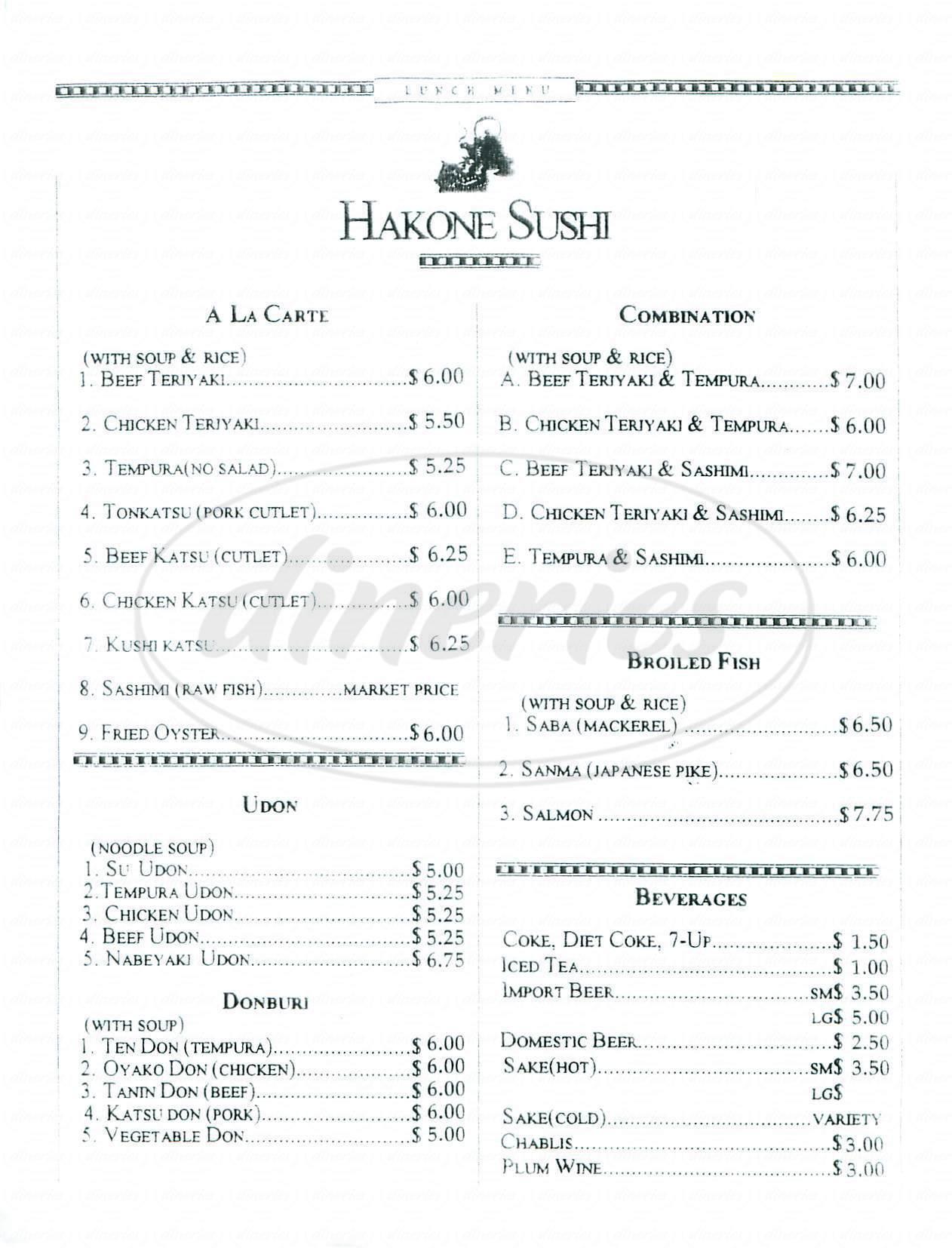 menu for Hakone Sushi