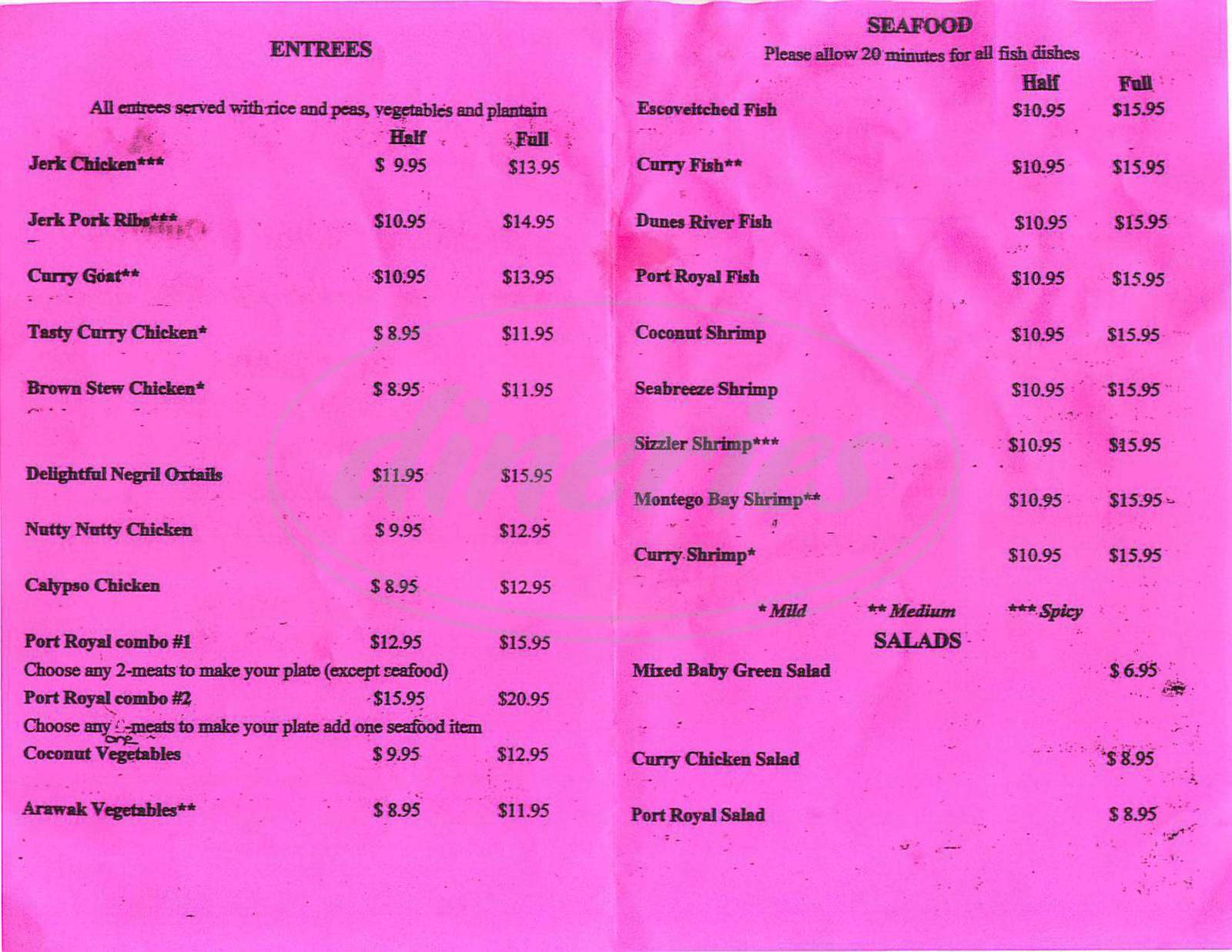 menu for Port Royal Café