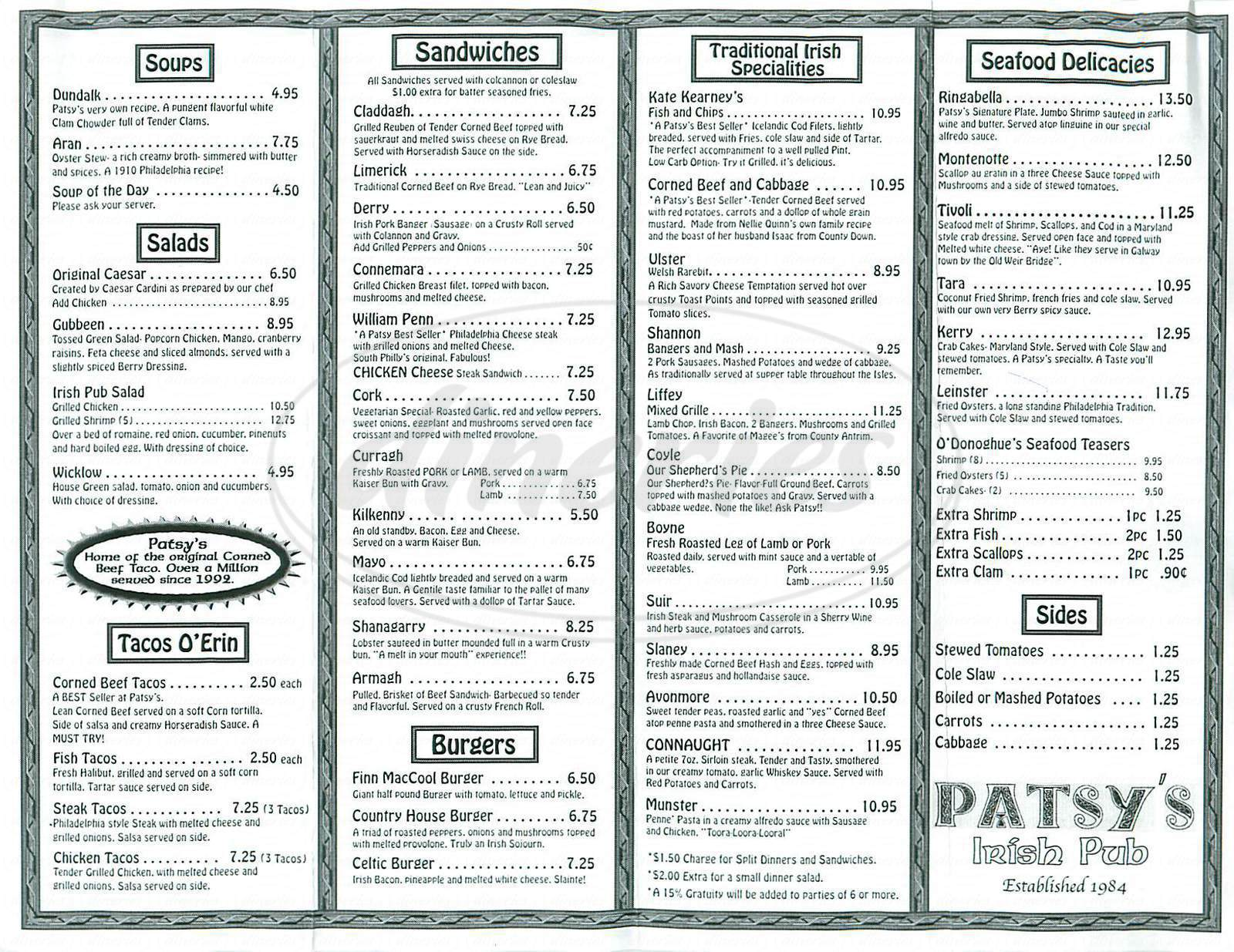 menu for Patsy's Irish Pub