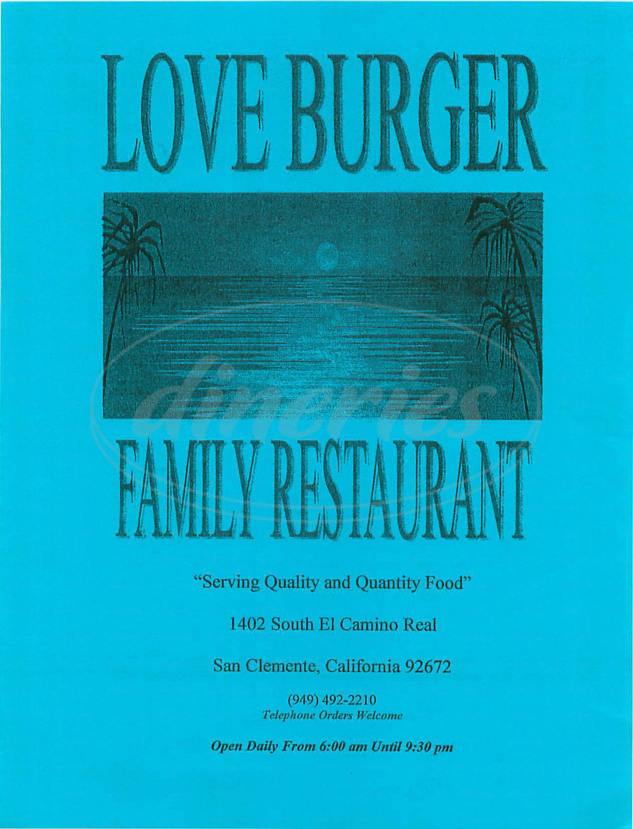 menu for Love Burger