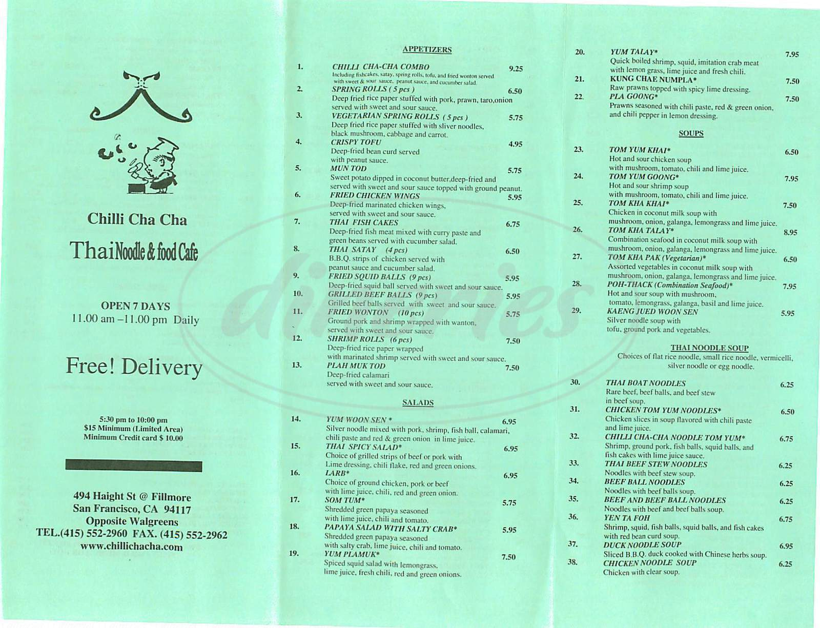 menu for Chilli Cha Cha