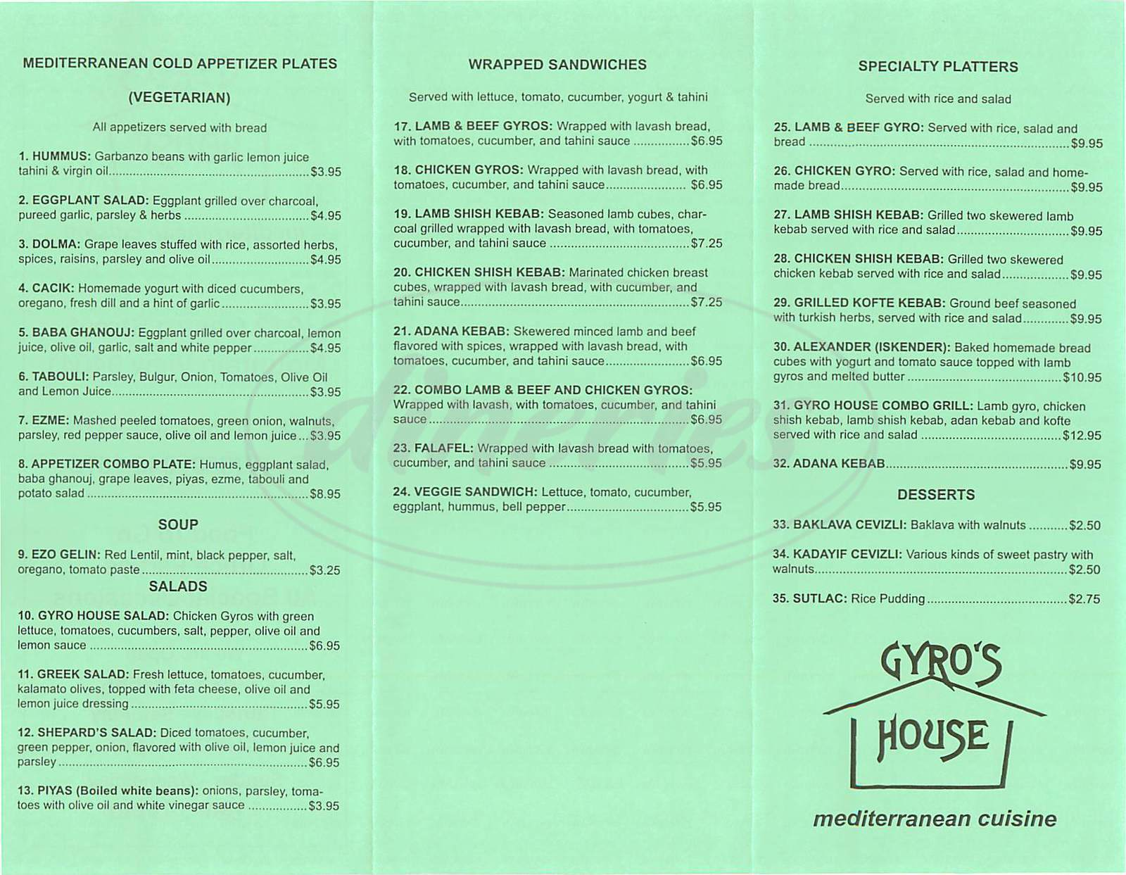 menu for Gyros House