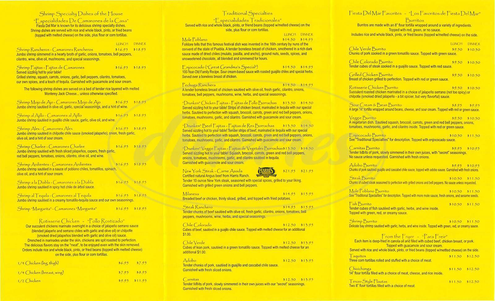 menu for Fiesta del Mar Too