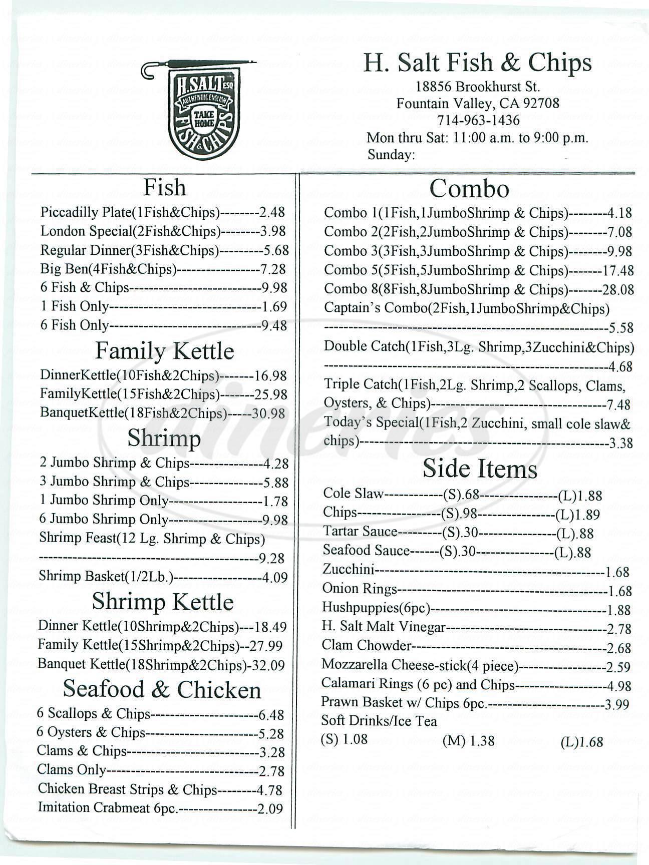 menu for H Salt Fish & Chips