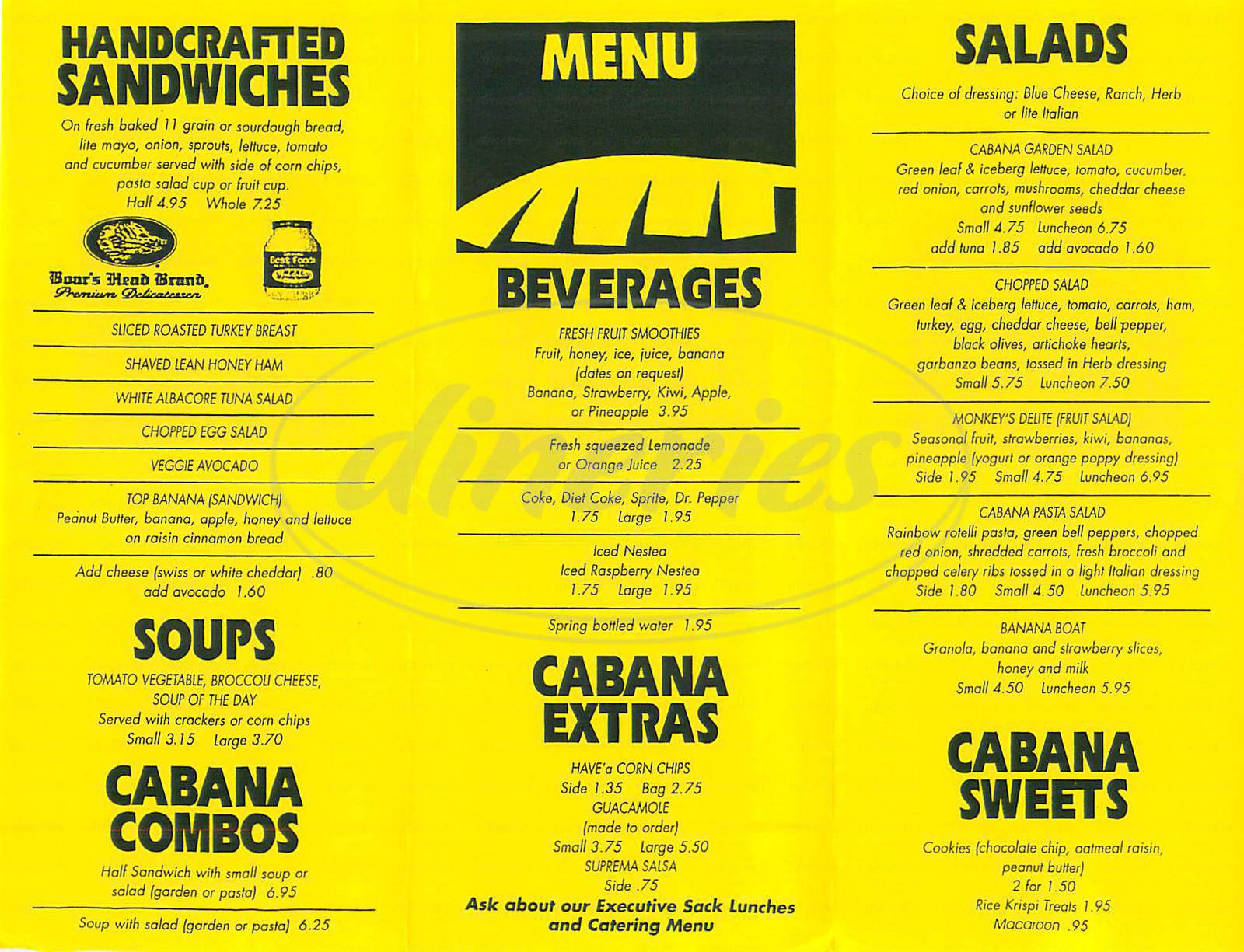 menu for Banana Cabana