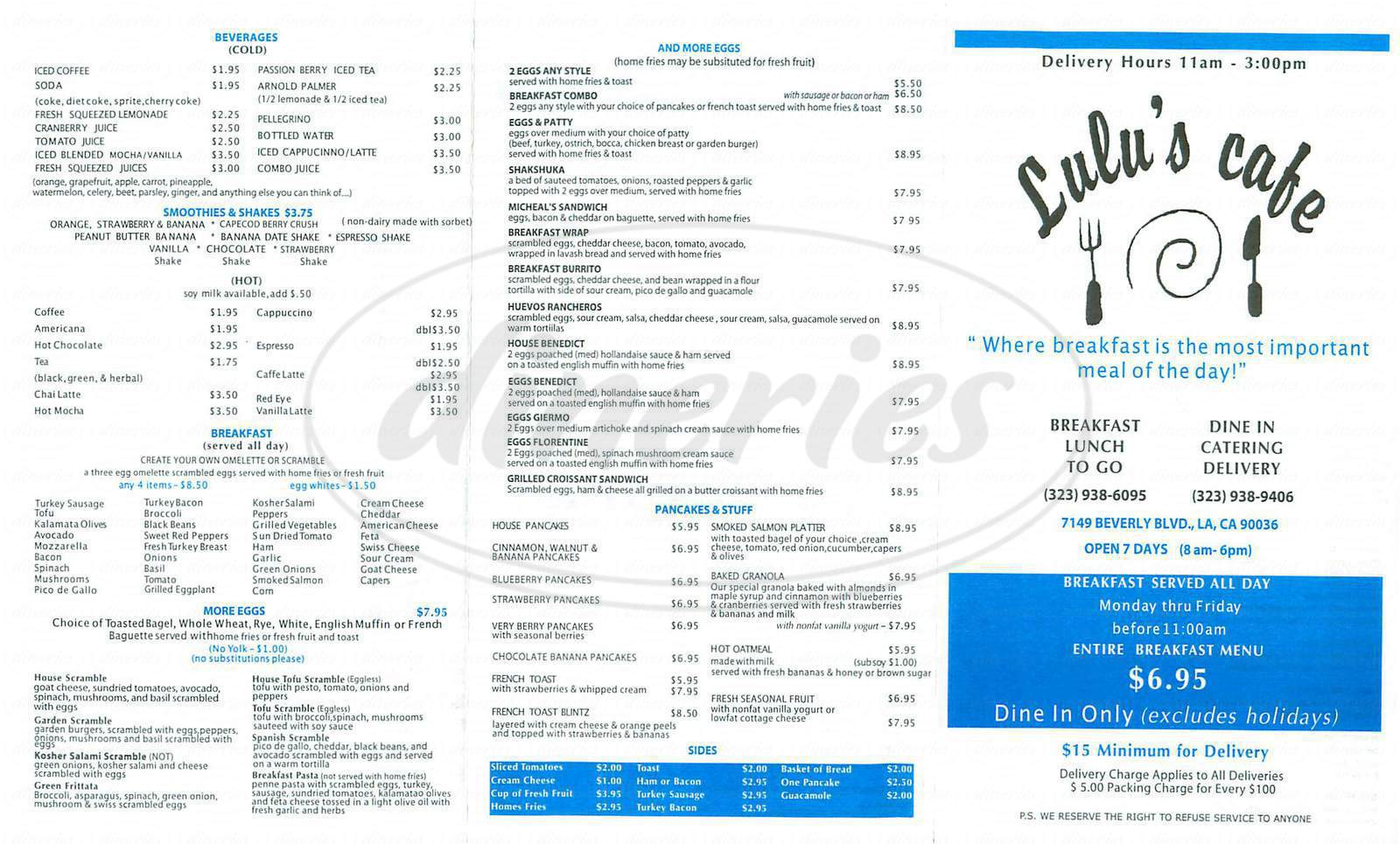 menu for Lulus Café