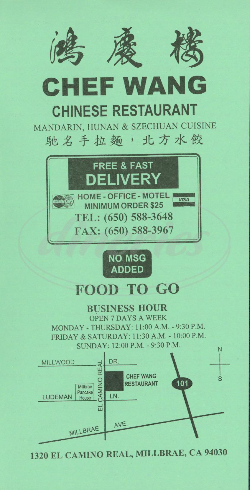 menu for Chef Wangs Restaurant