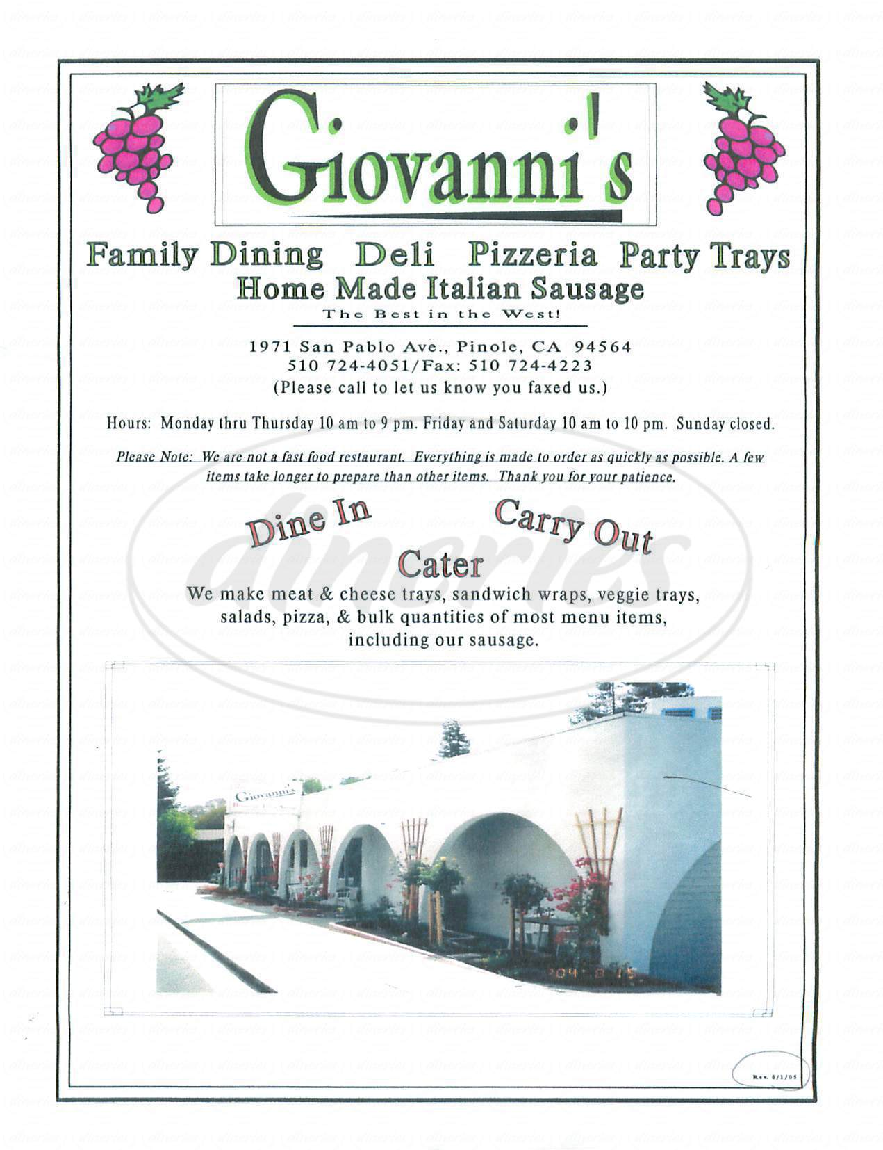 menu for Giovannis Restaurant Deli & Pizza