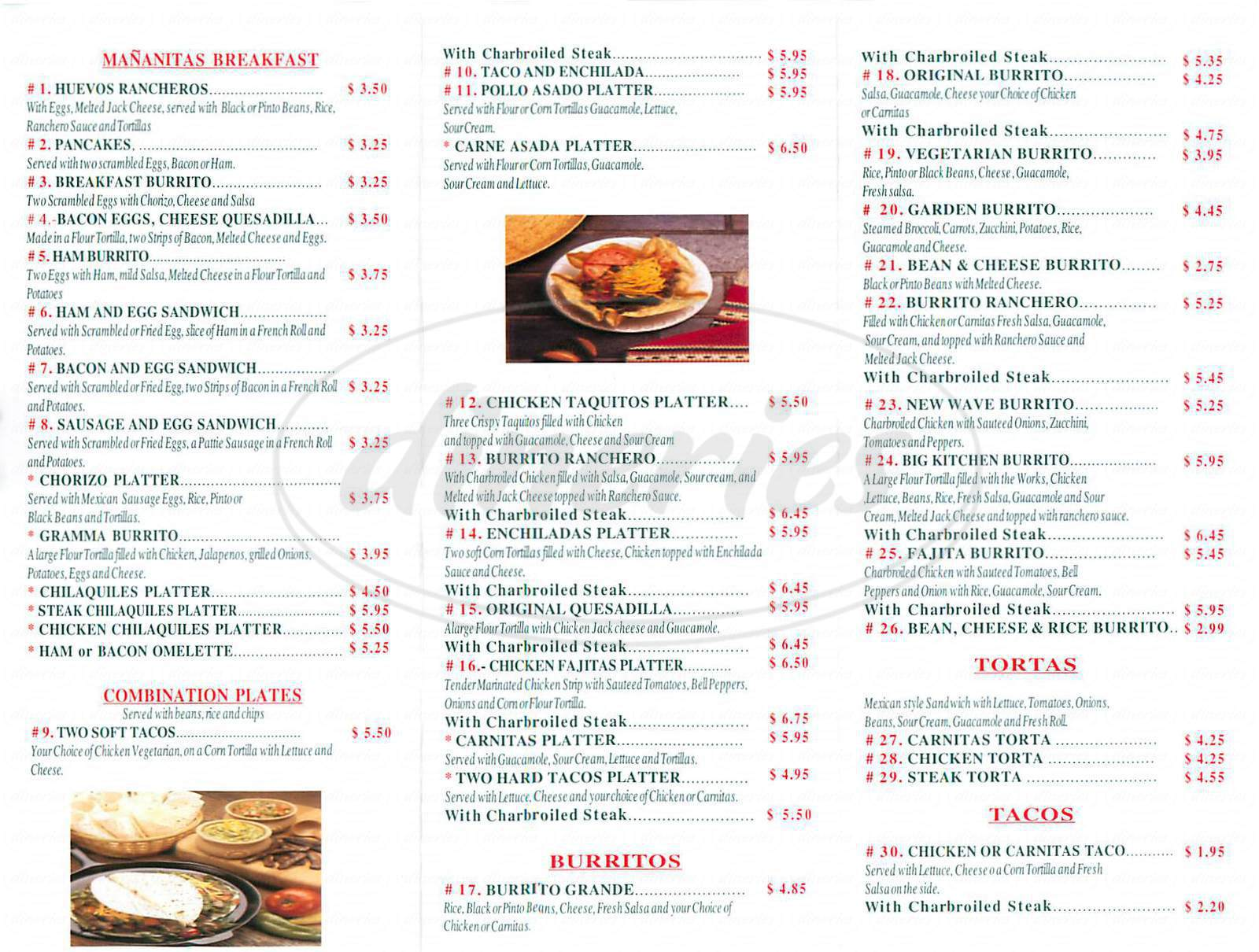 California Mexican Grill Menu - Los Angeles - Dineries