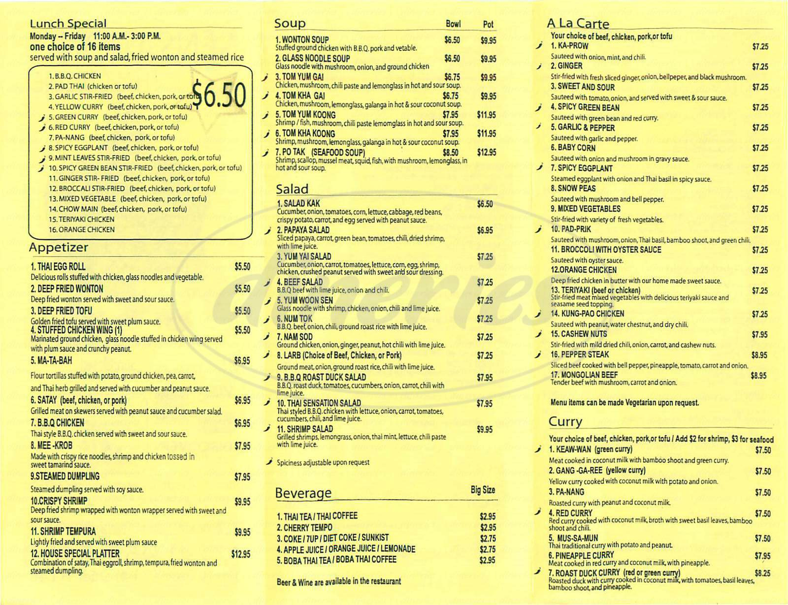 menu for Sensation Thai Cuisine