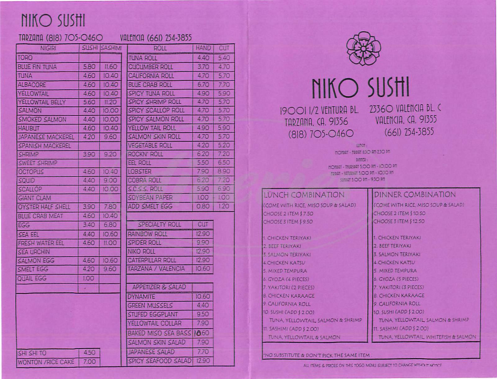 menu for Niko Sushi