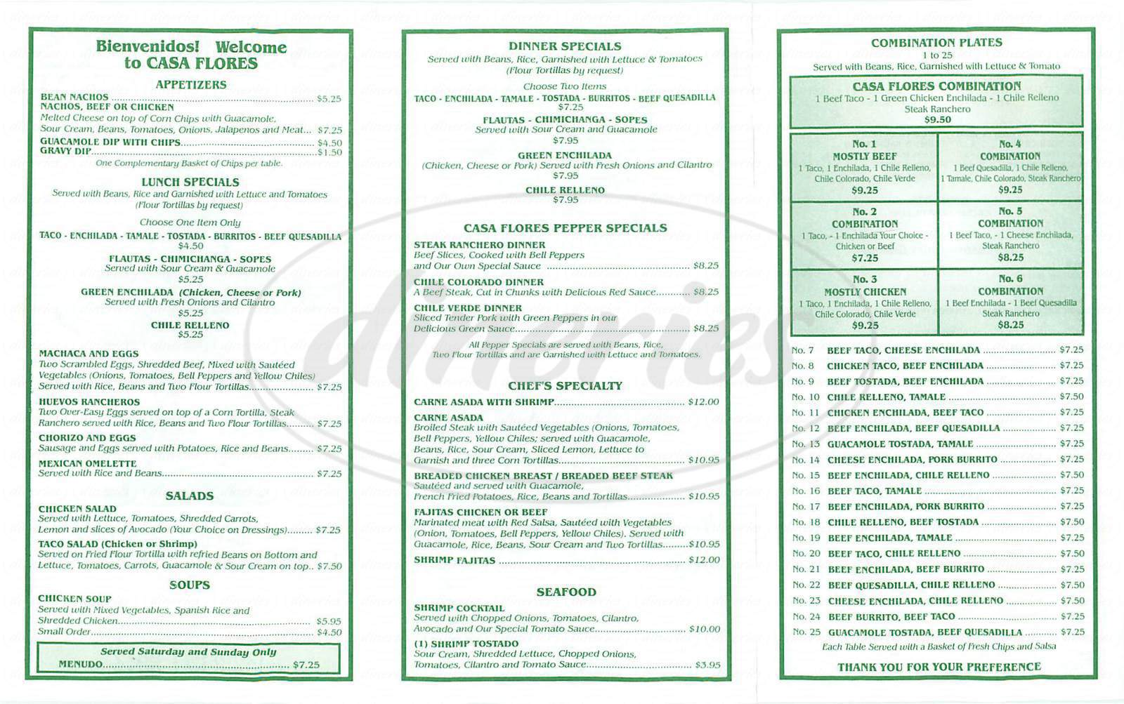 menu for Casa Flores Mexican Restaurant