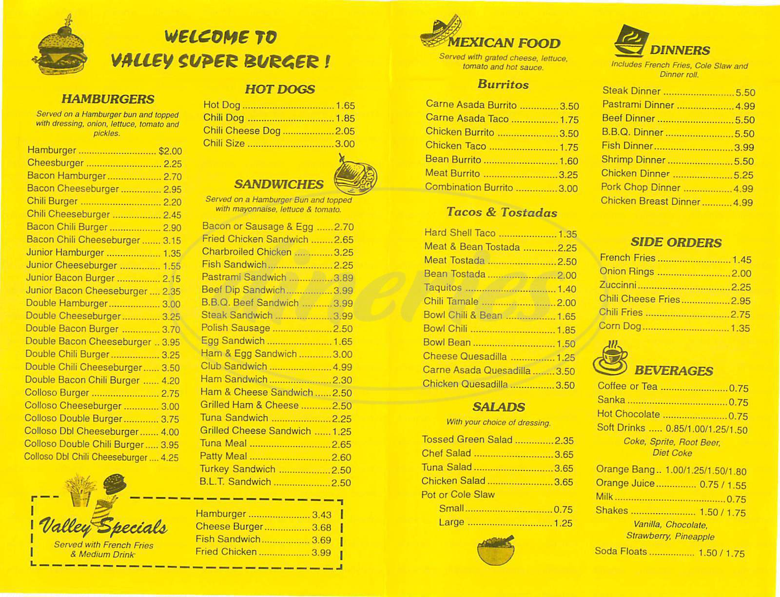 menu for Valley Super Burger
