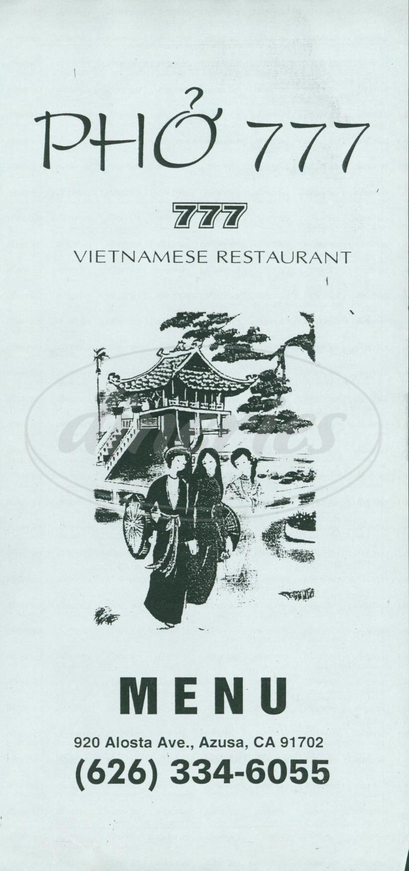 menu for Pho 777