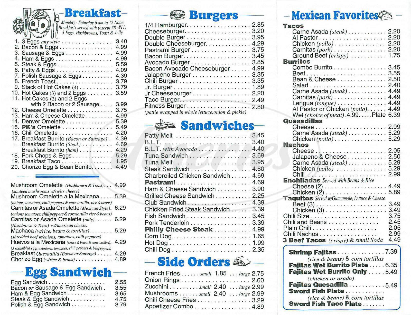 menu for Pk Burgers