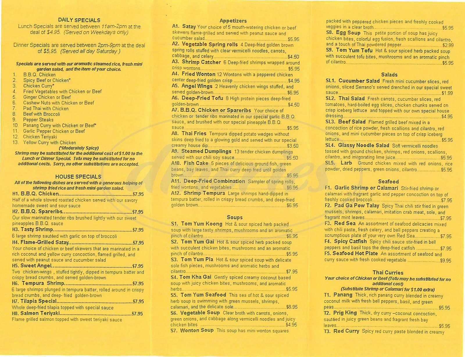 menu for Thai Tae Wa