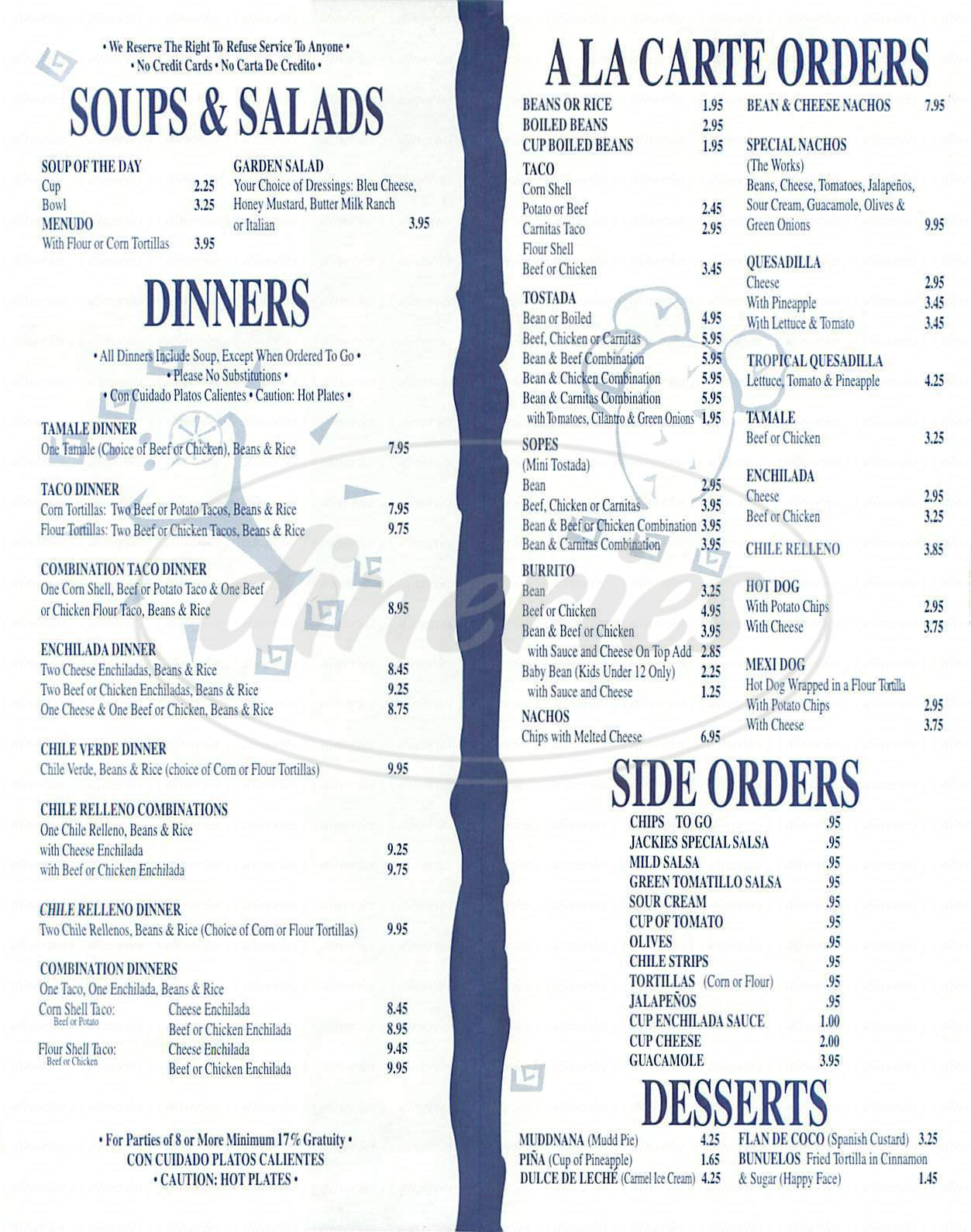 menu for El Patio Café