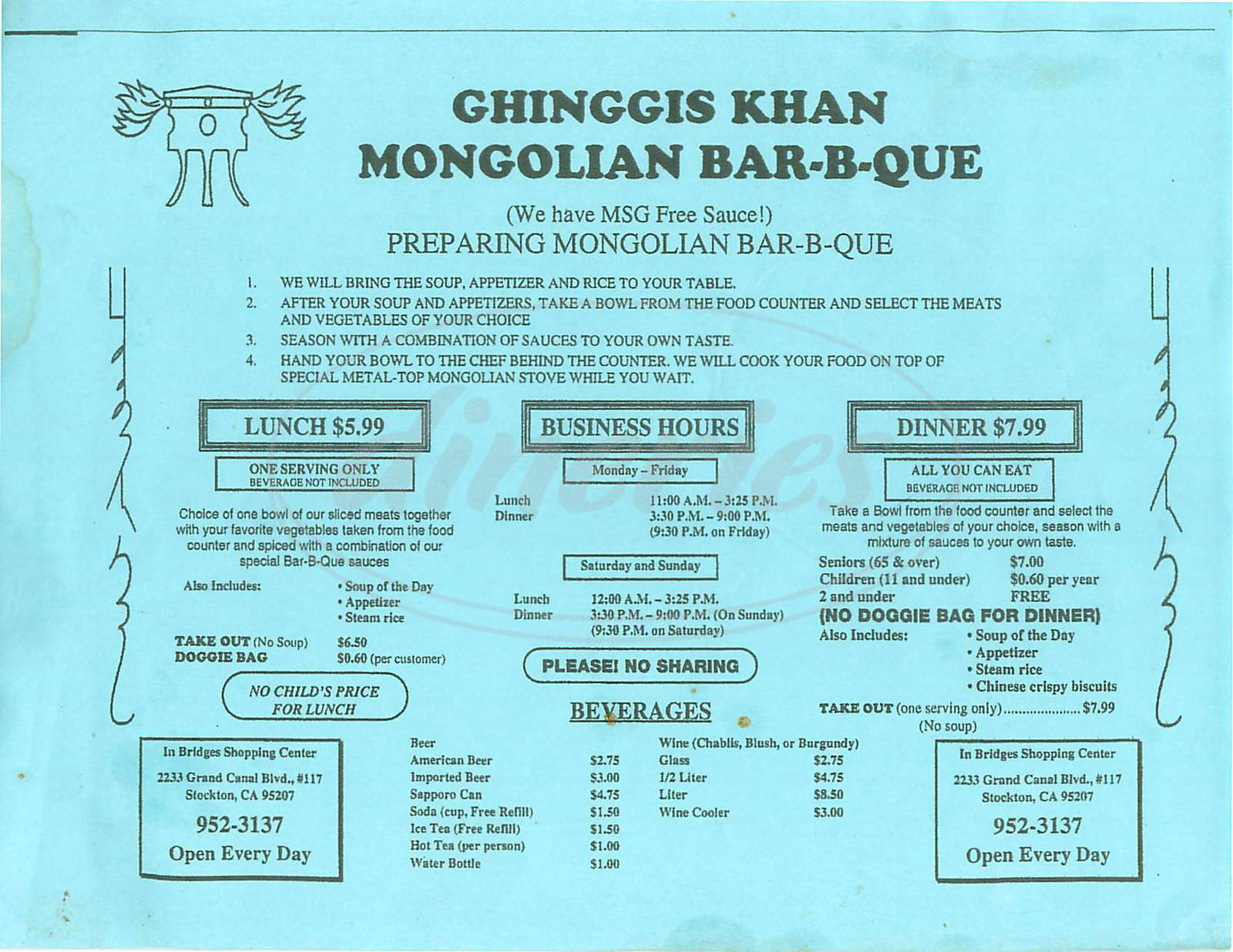 menu for Ghinggis Khan Mongolian BBQ