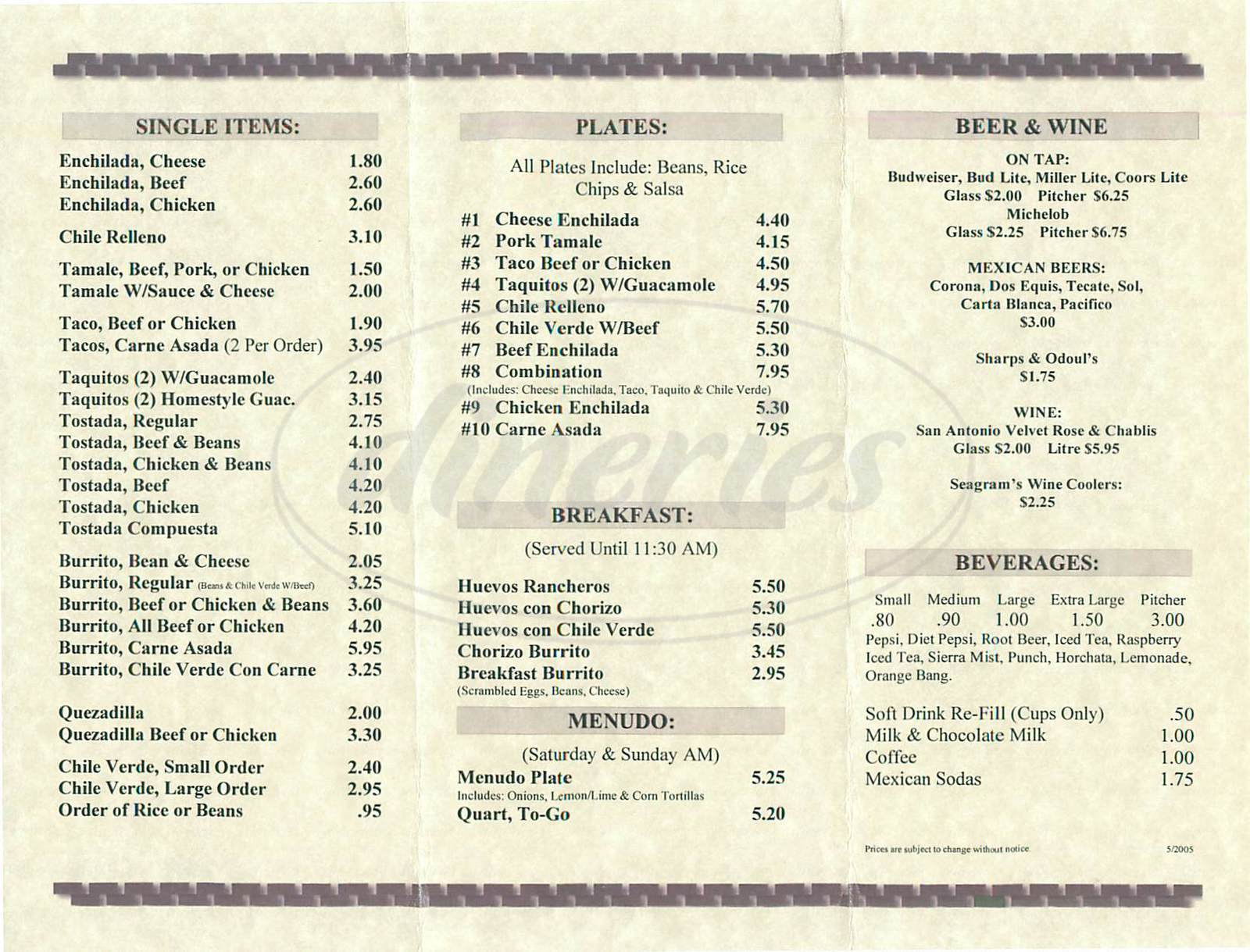 menu for La Tolteca