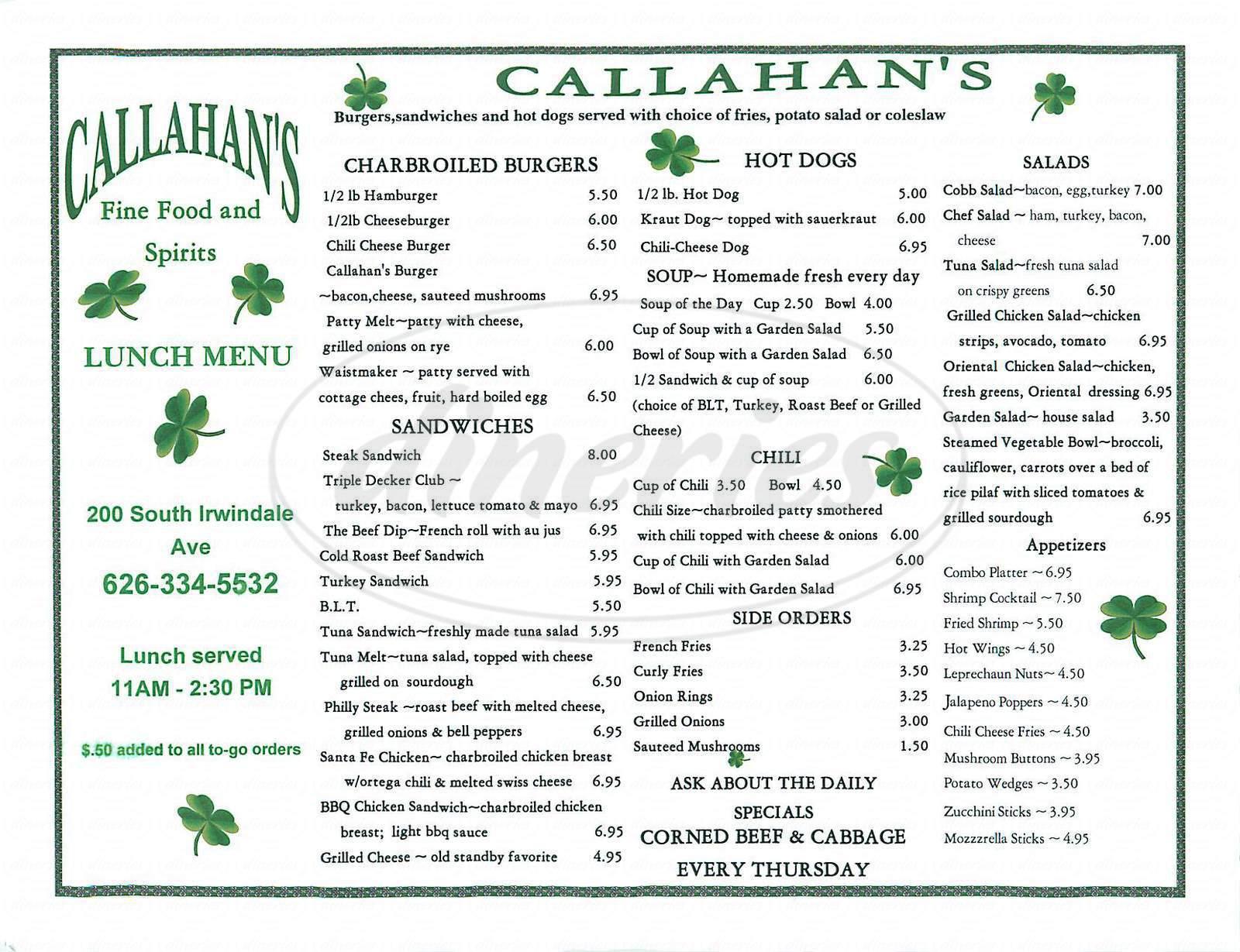 menu for Callahans