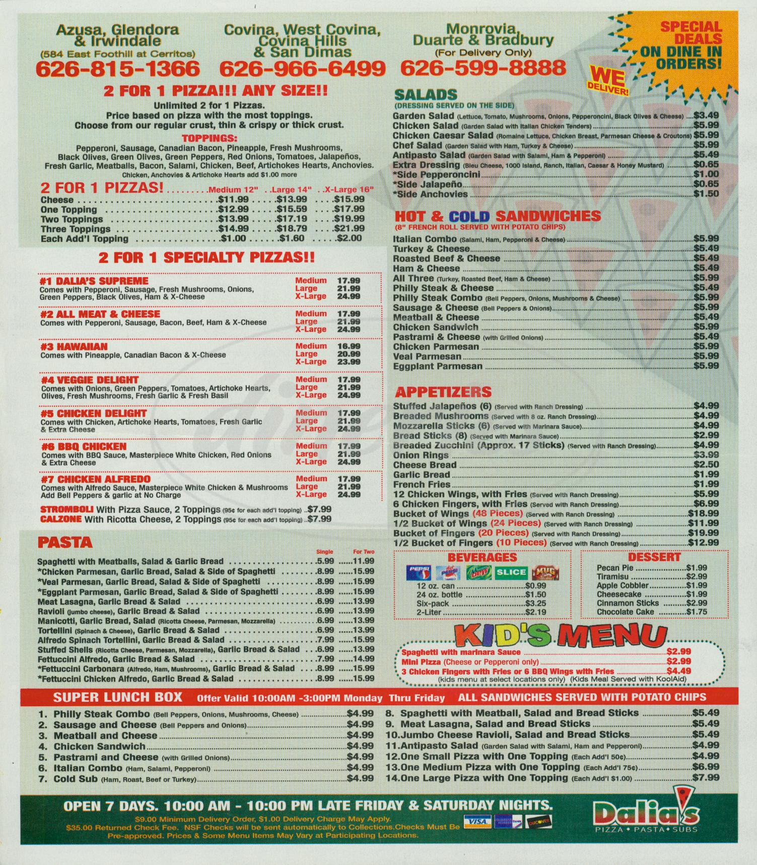 menu for Dalias Pizza Market