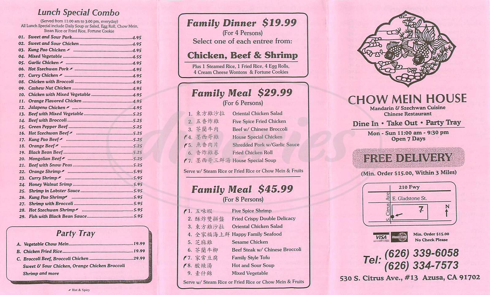 menu for Chow Mein House