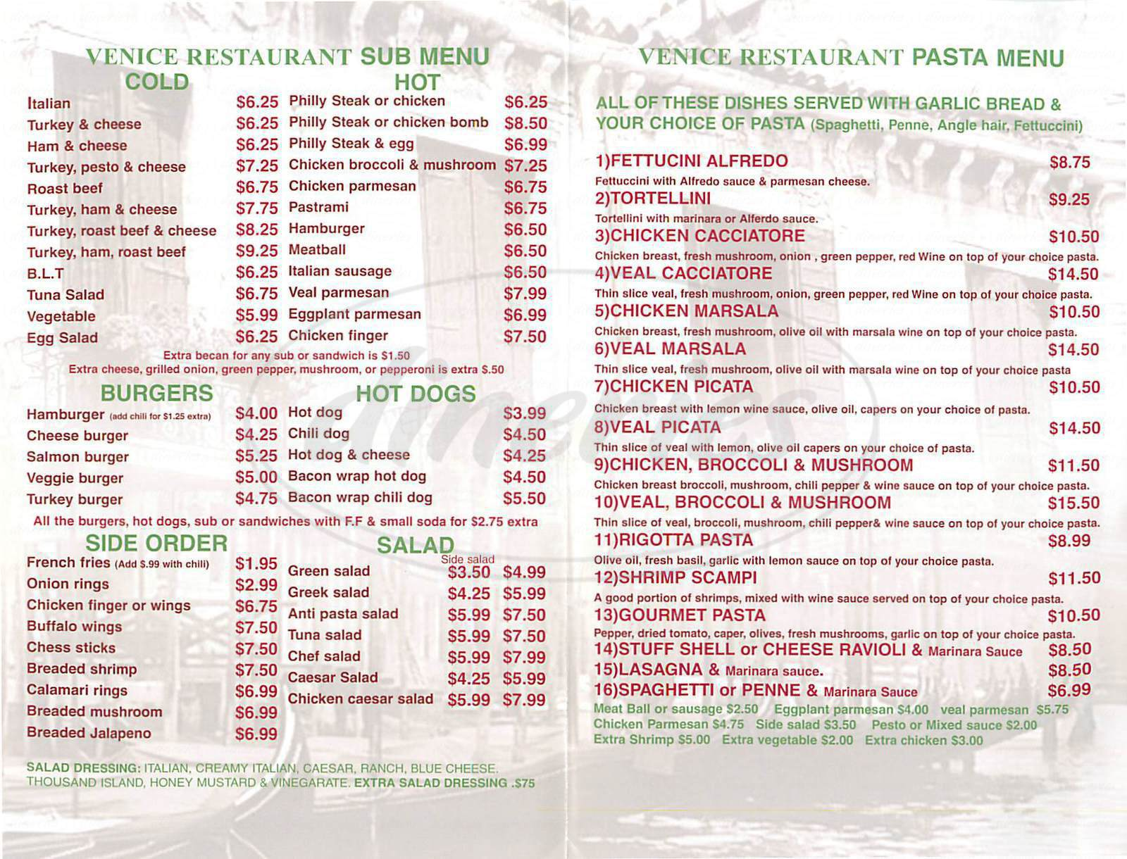 menu for Venice Restaurant