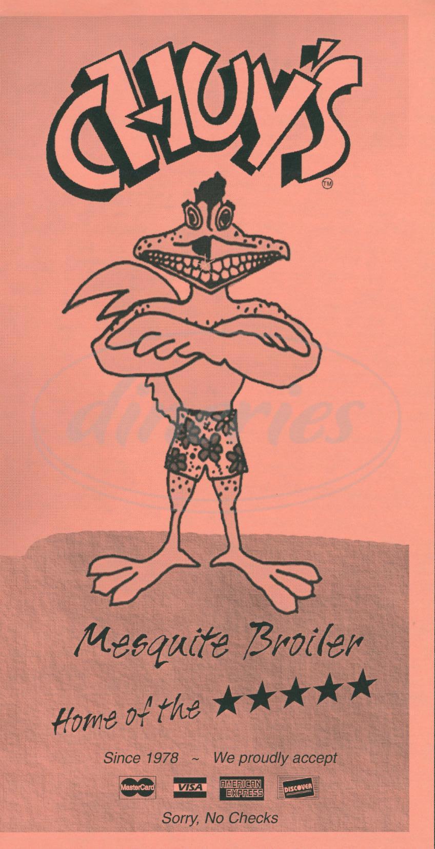 menu for Chuy's Mesquite Broiler