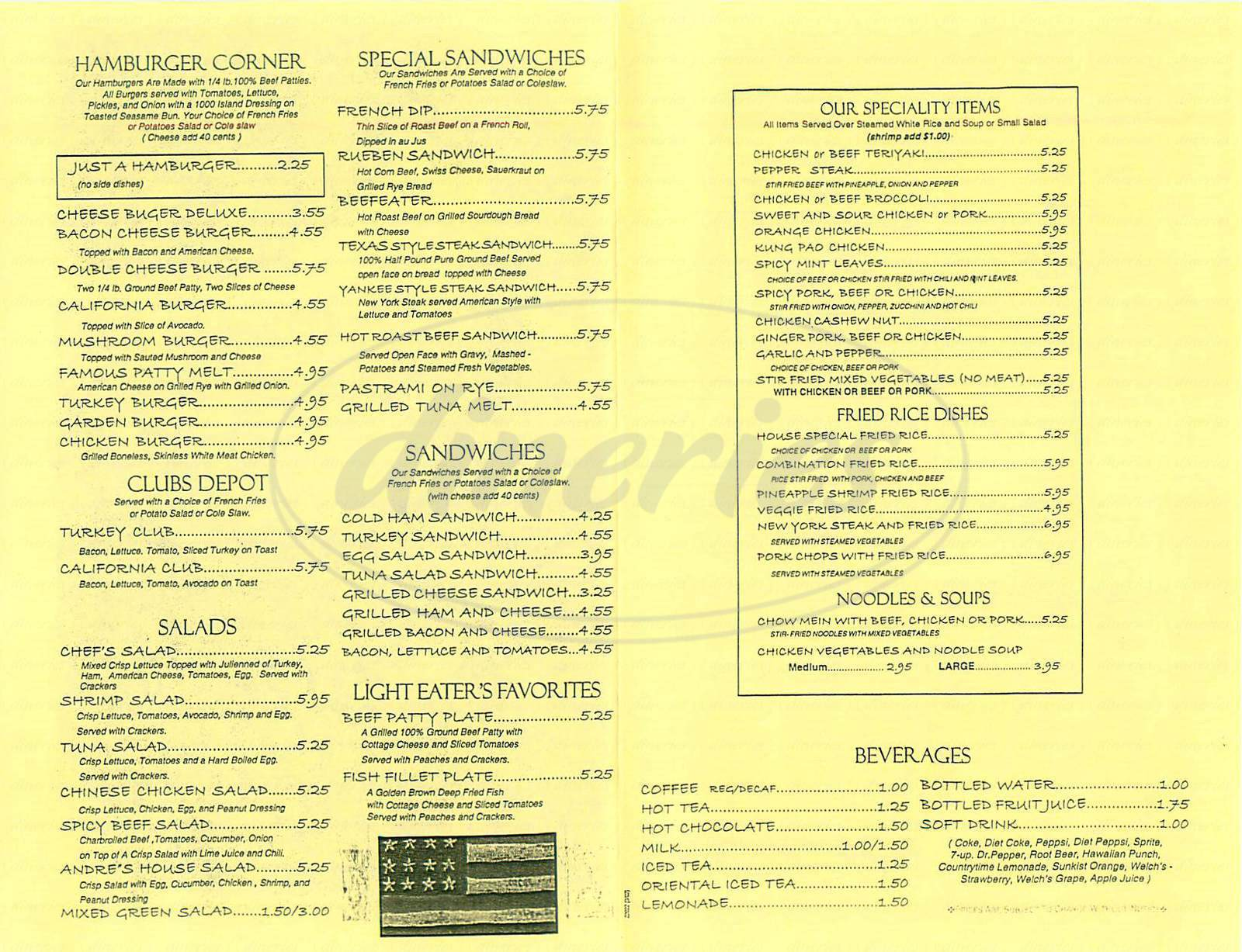 menu for Andres Restaurant