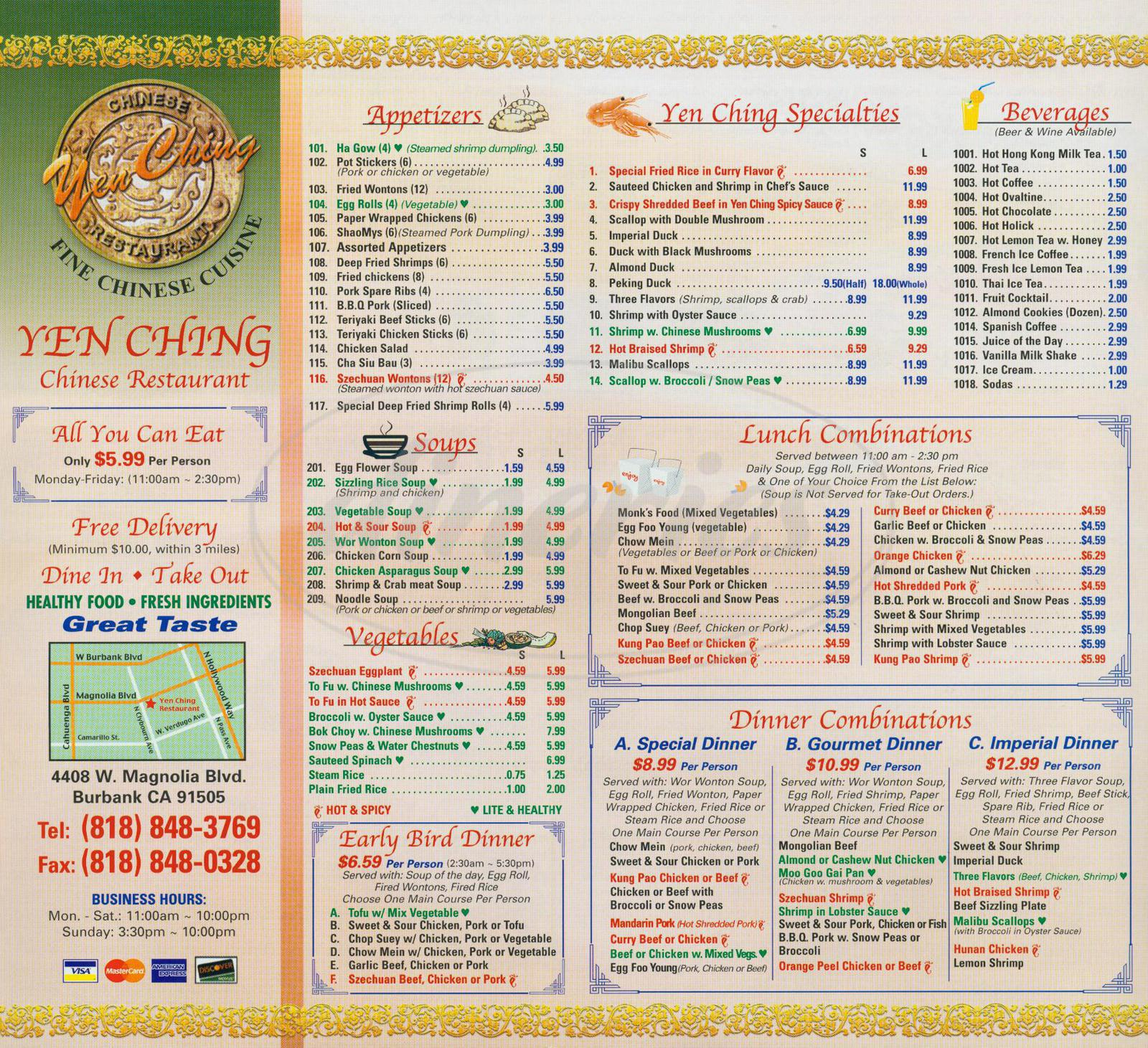 menu for Yen Ching Restaurant