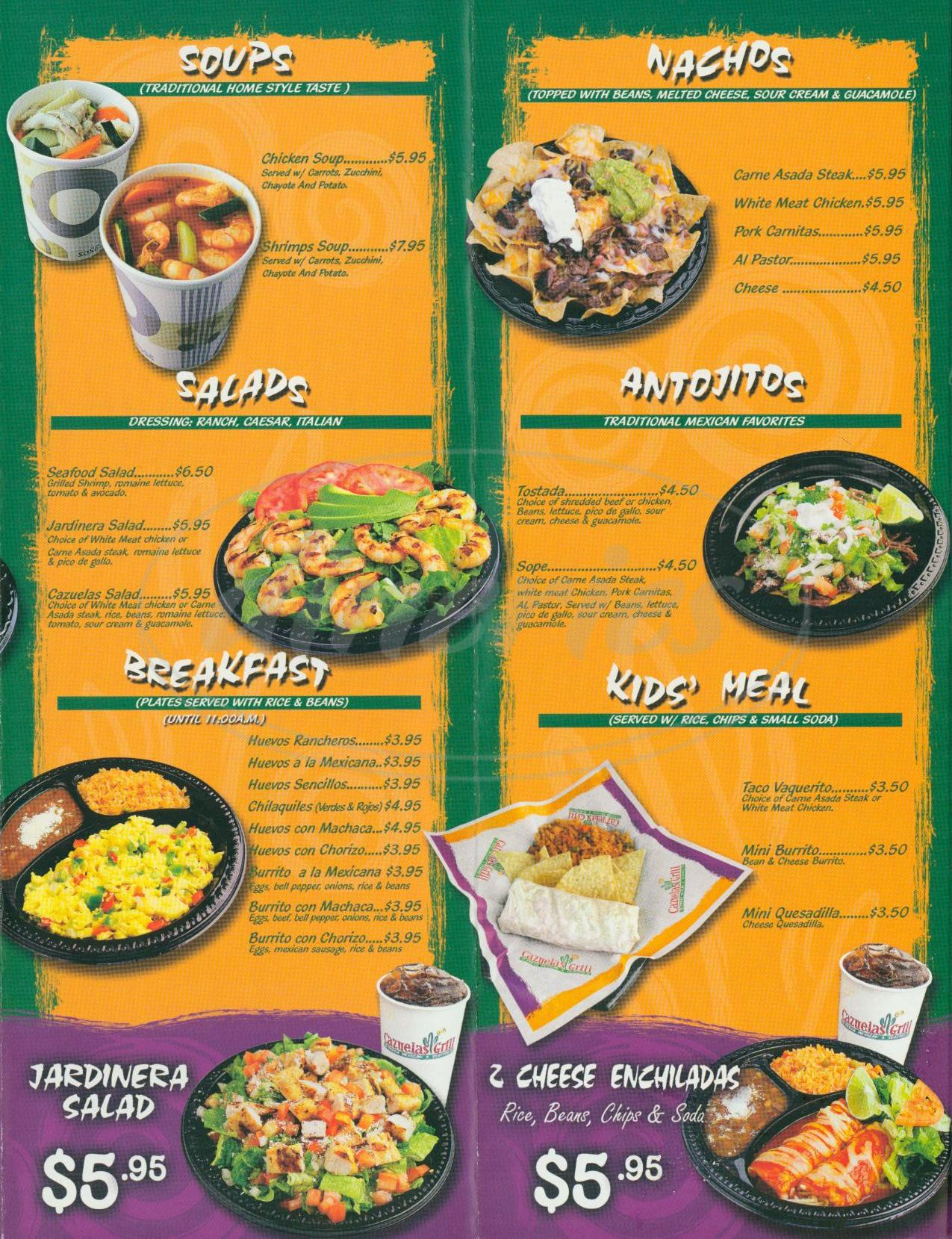menu for Cazuelas Grill