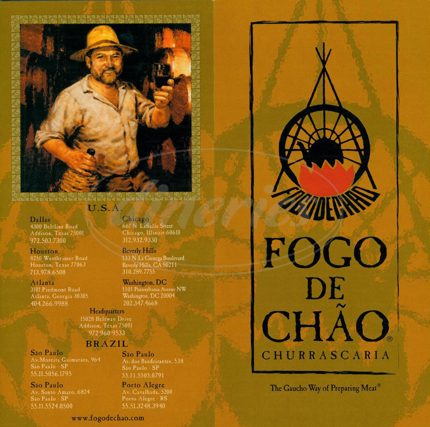 menu for Fogo de Chao