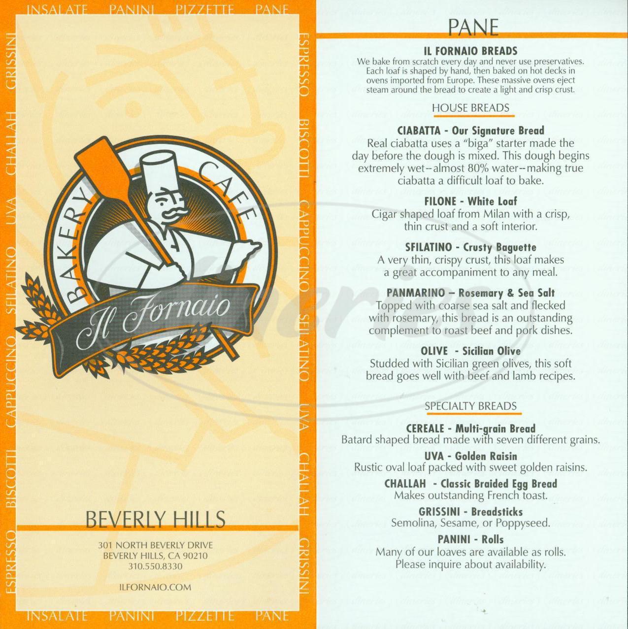 menu for Il Fornaio