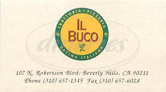 menu for Il Buco Trattoria