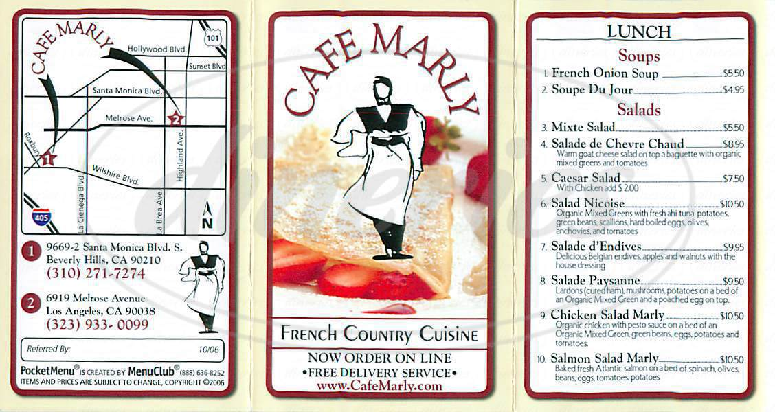menu for Café Marly