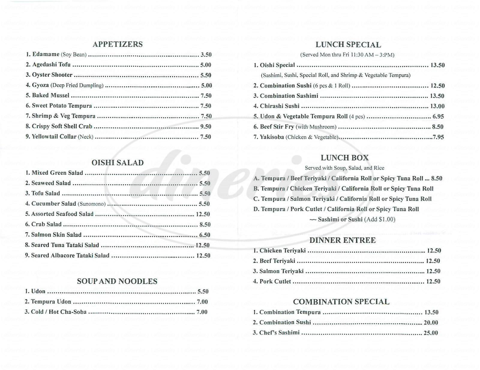 menu for Oishi Sushi