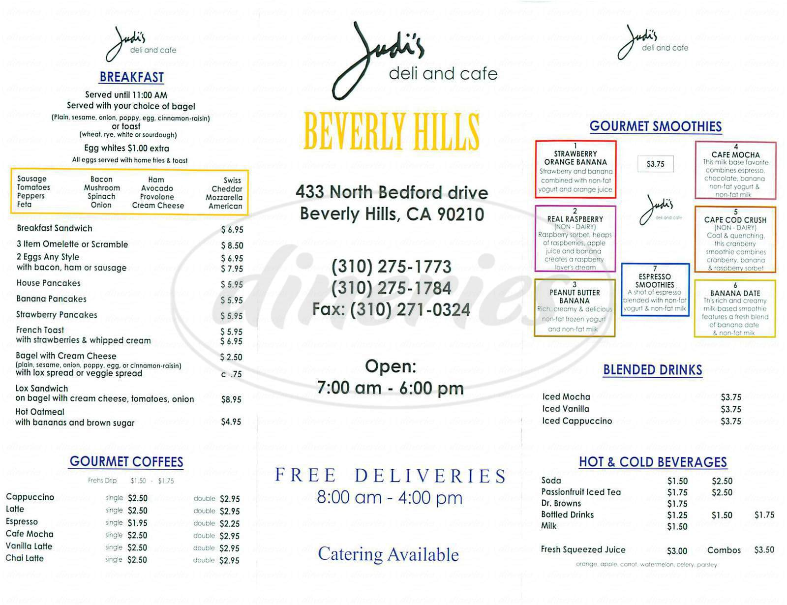 menu for Judi's Deli and Cafe