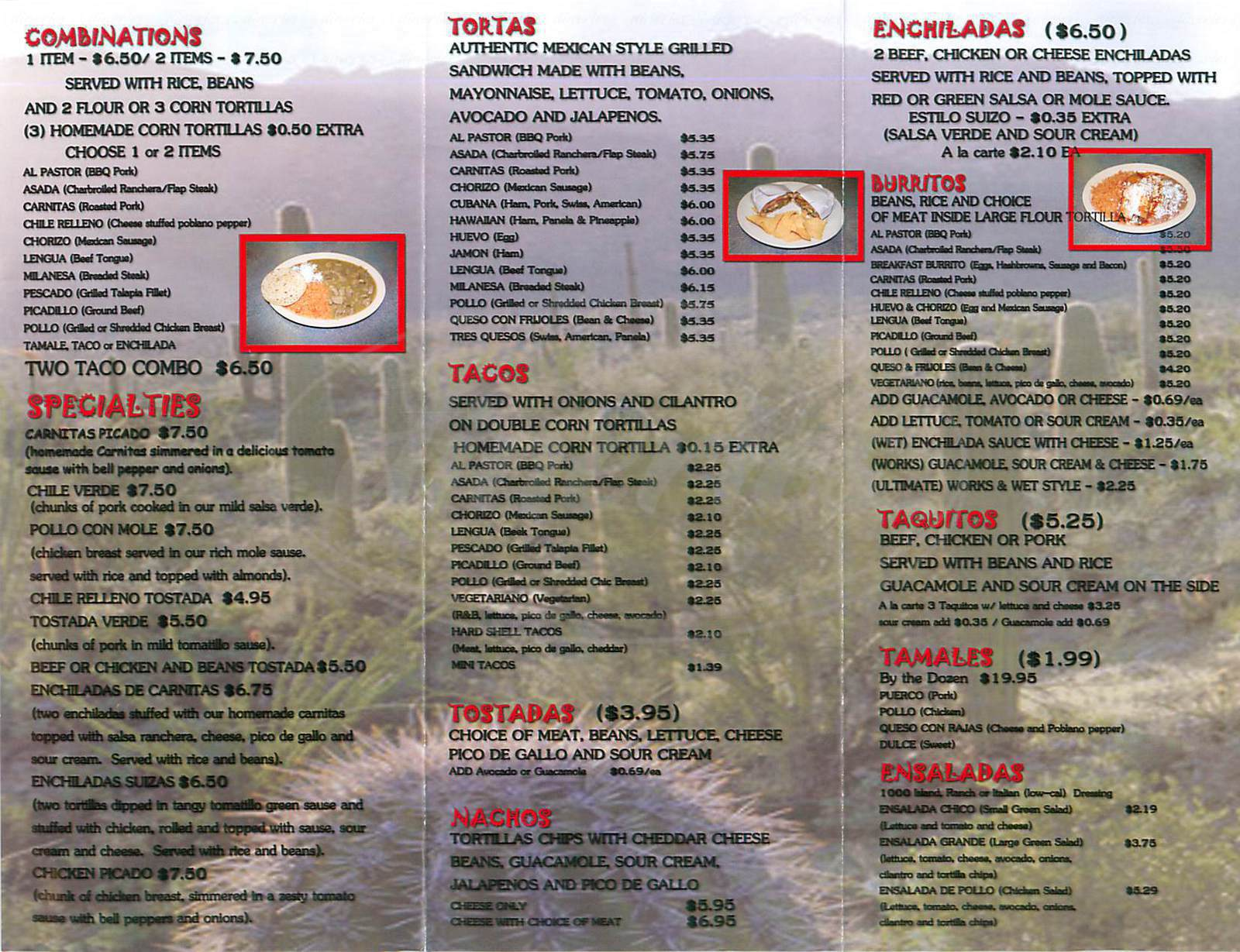 menu for Tortas Mexican Grill