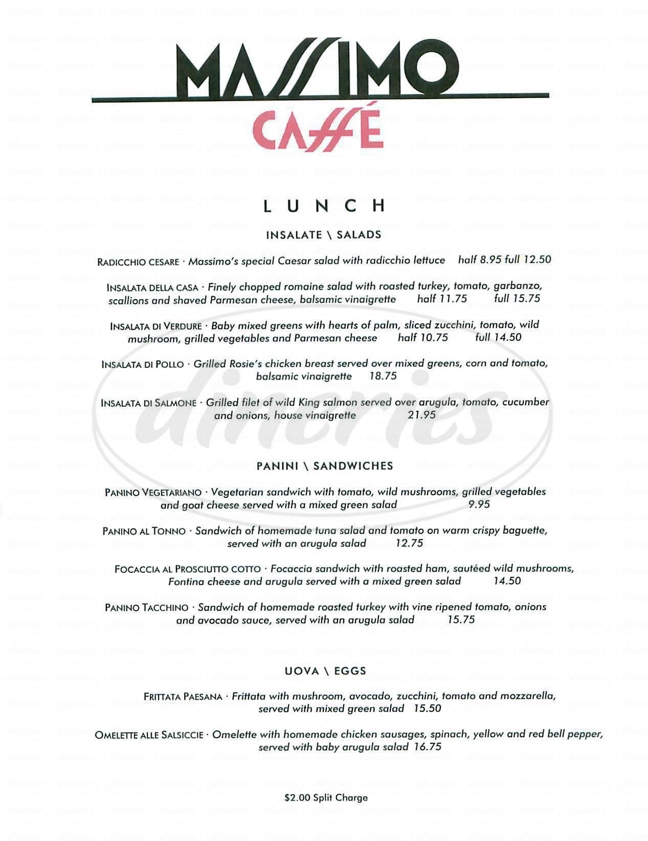 menu for Massimo