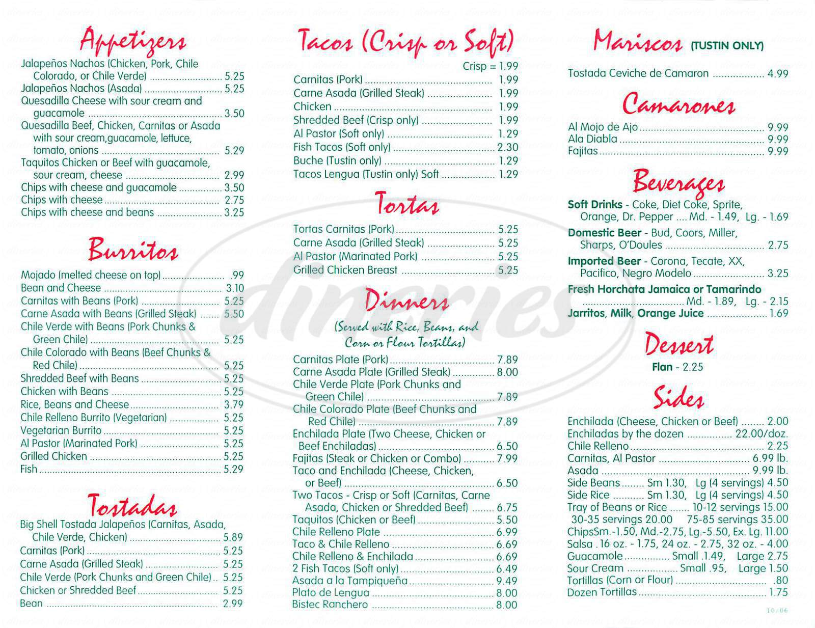 menu for Jalapenos
