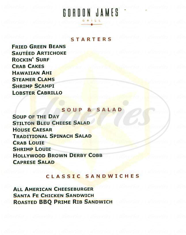 menu for Gordon James Grill