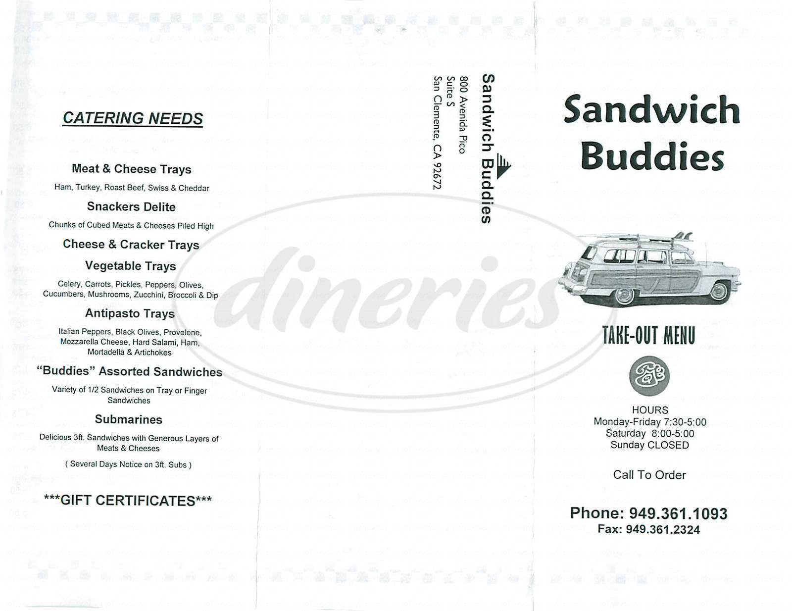 menu for Sandwich Buddies
