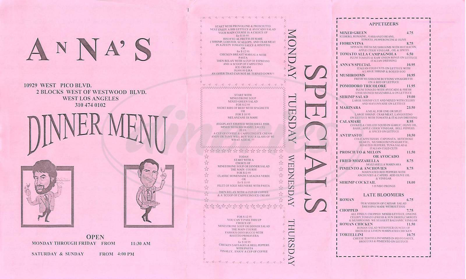 menu for Annas Italian Restaurant