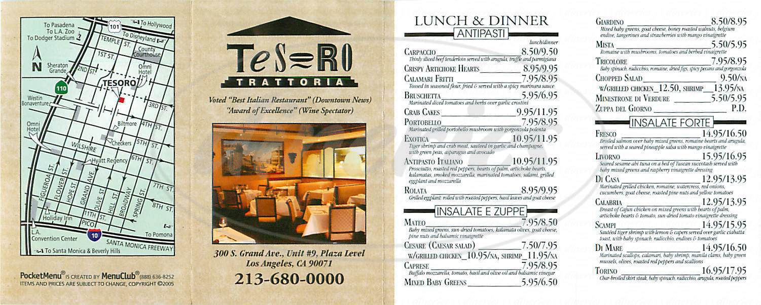 menu for Tesoro Trattoria