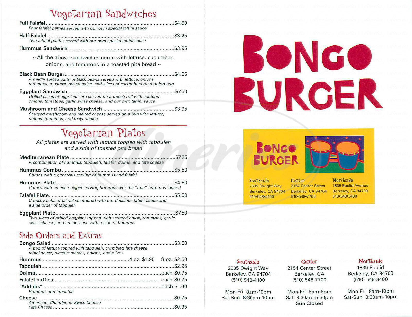 menu for Bongo Burger