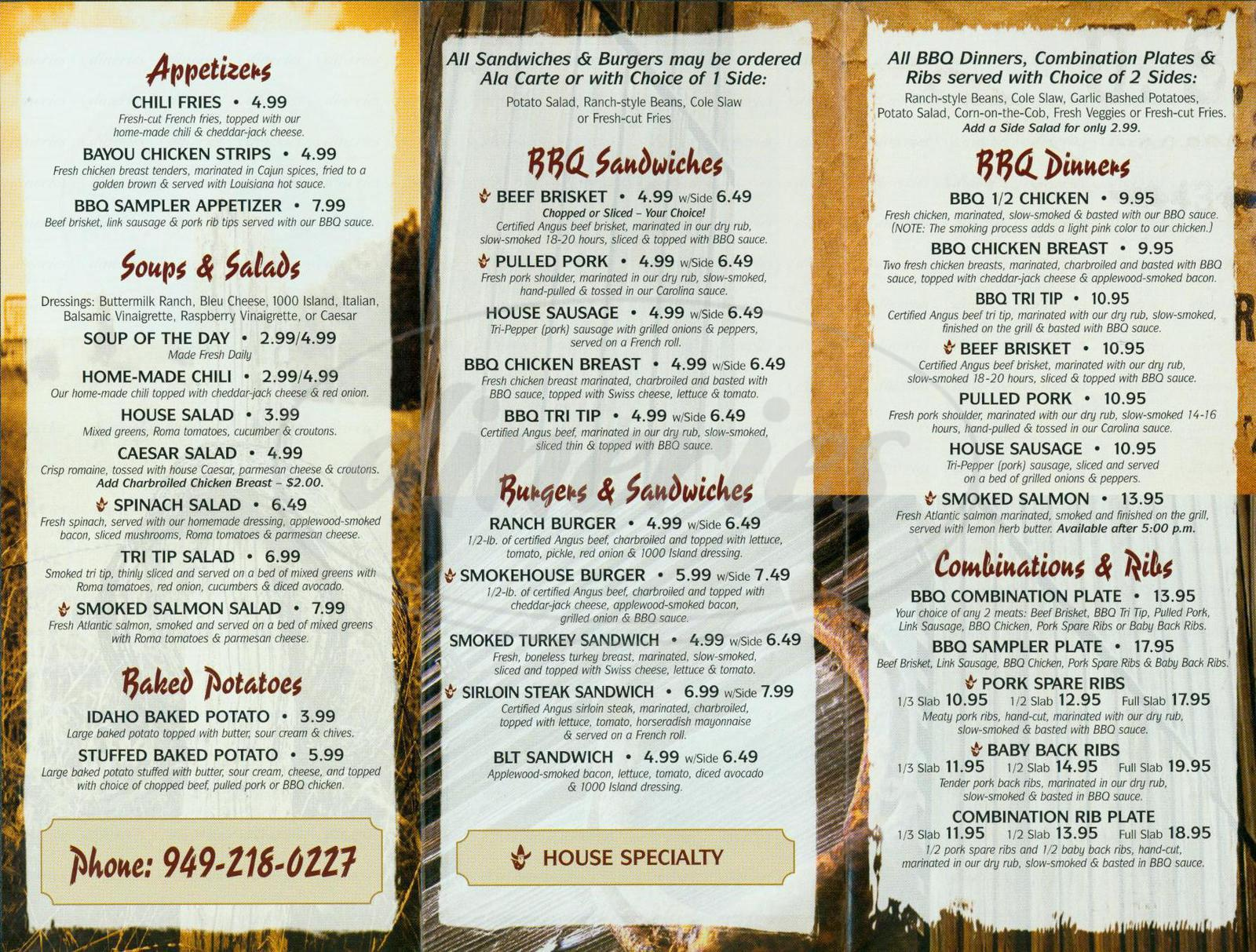 menu for Bad to The Bone Bbq
