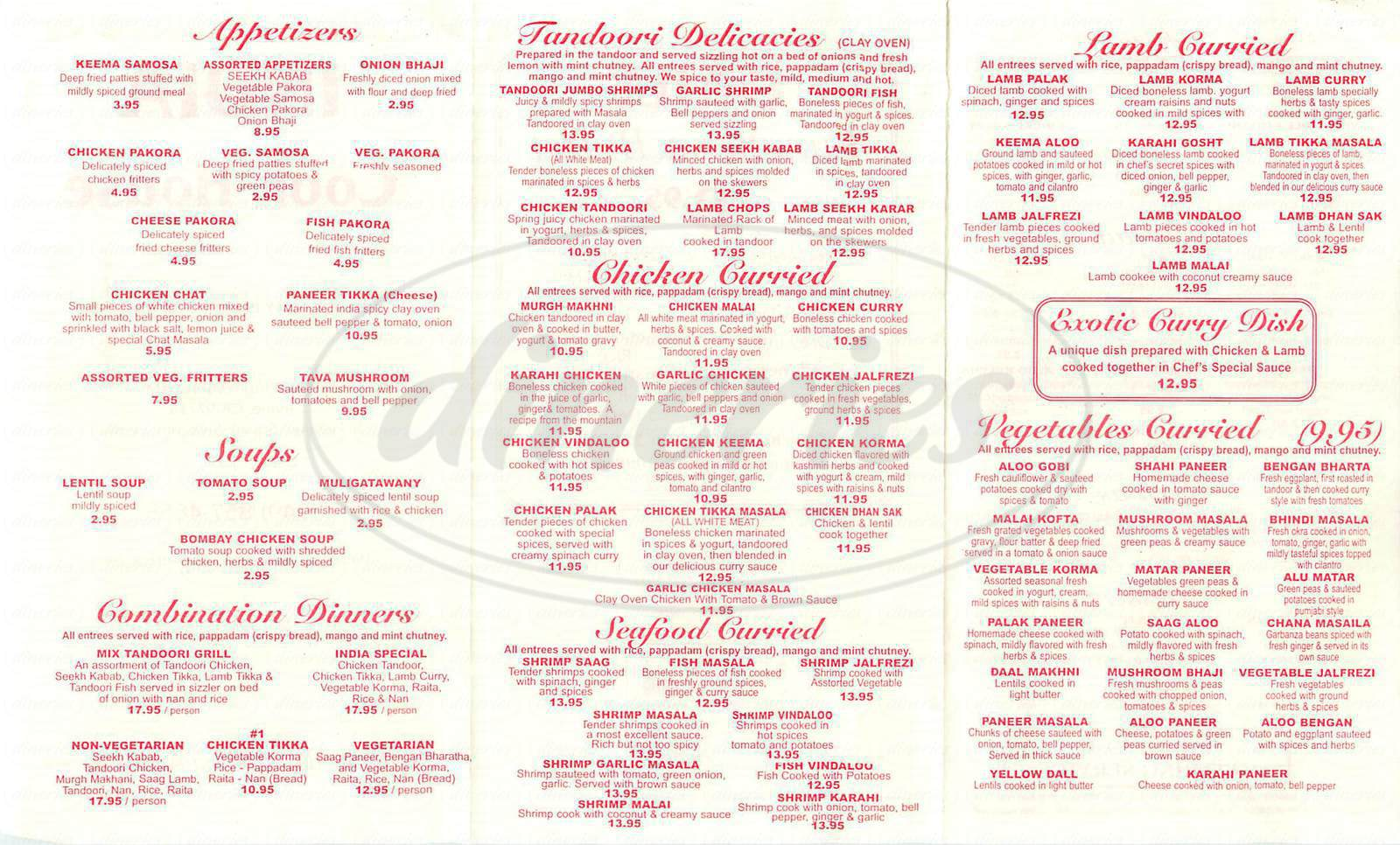 menu for India Cook House