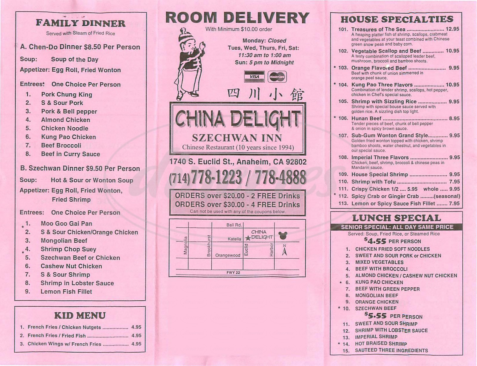 menu for China Delight